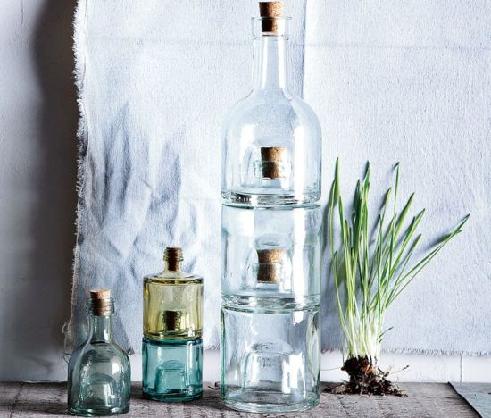 Recycled glass stacking bottles by west elm - How to recycle glass bottles ...