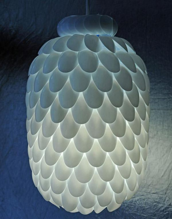 A lamp made of disposable spoons