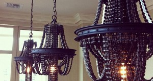 Bicycle chains and rims chandelier