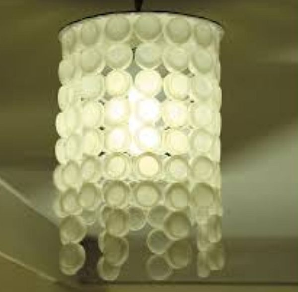 Plastic bottle cap lampshade