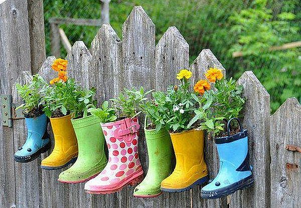 Turn your old boots and shoes into flowerpots