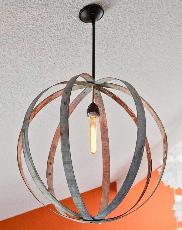 Wine barrel hoops chandelier