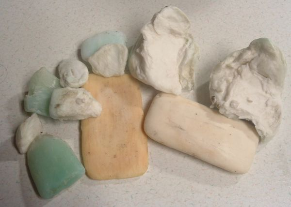 Small bits of used soaps