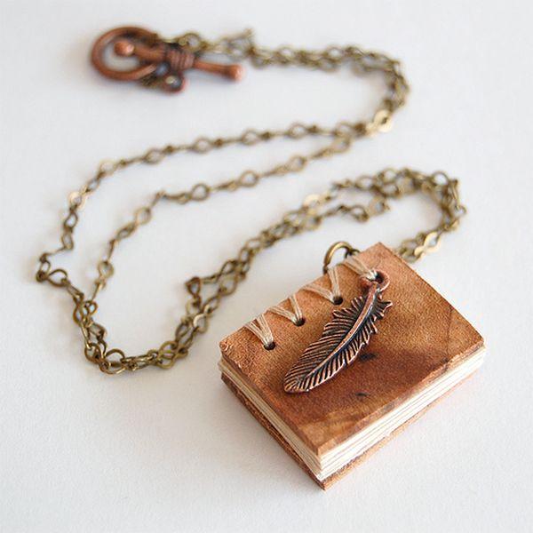 Mini book necklet