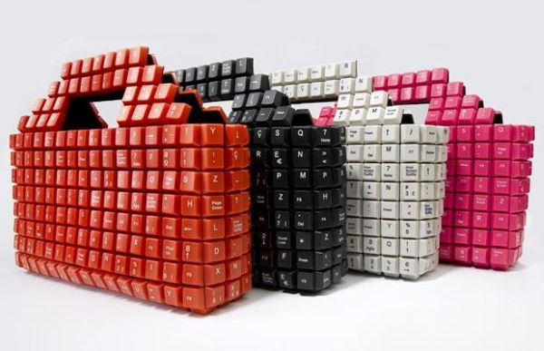 Unique bag made of computer keys