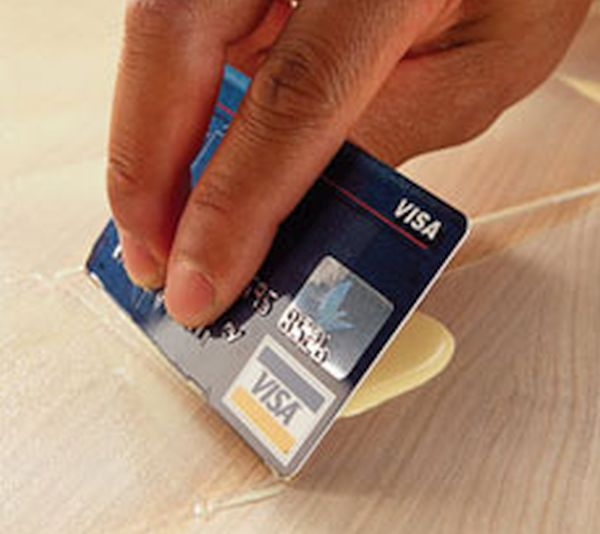 Expired Credit Card becomes Glue Spreader