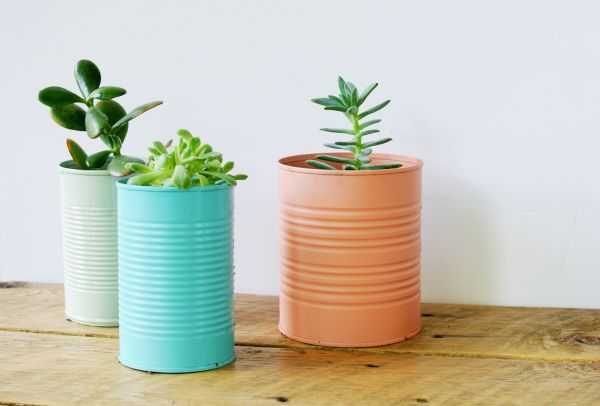Metal cans planters