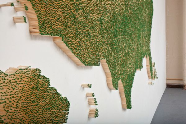 Matchstick Map by  Clair Fontaine