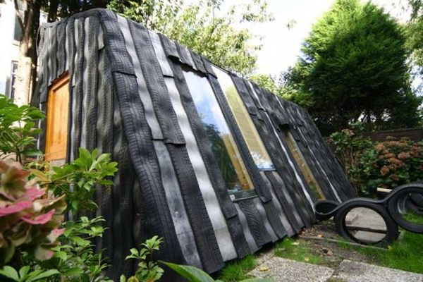 Recycled car tires garden office