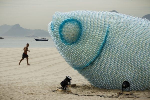 Sustainable Environment Beach Sculpture Protest by the U.N.