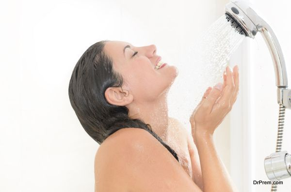 lady taking shower