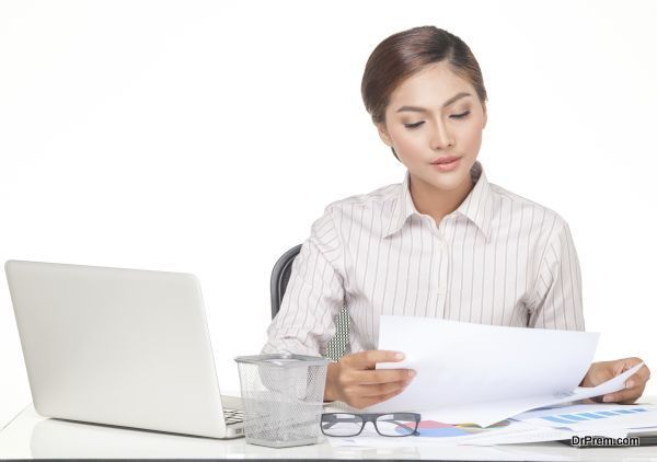 young business woman isolated