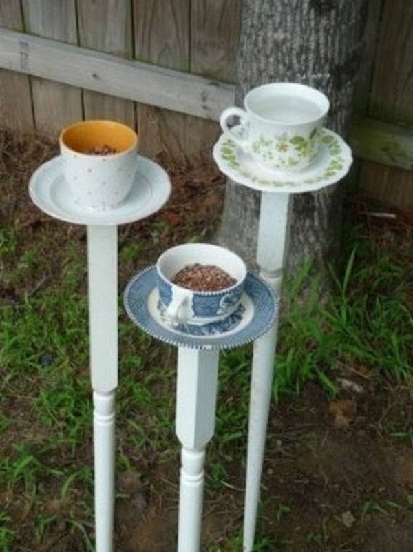 Chipped teacup bird feeder