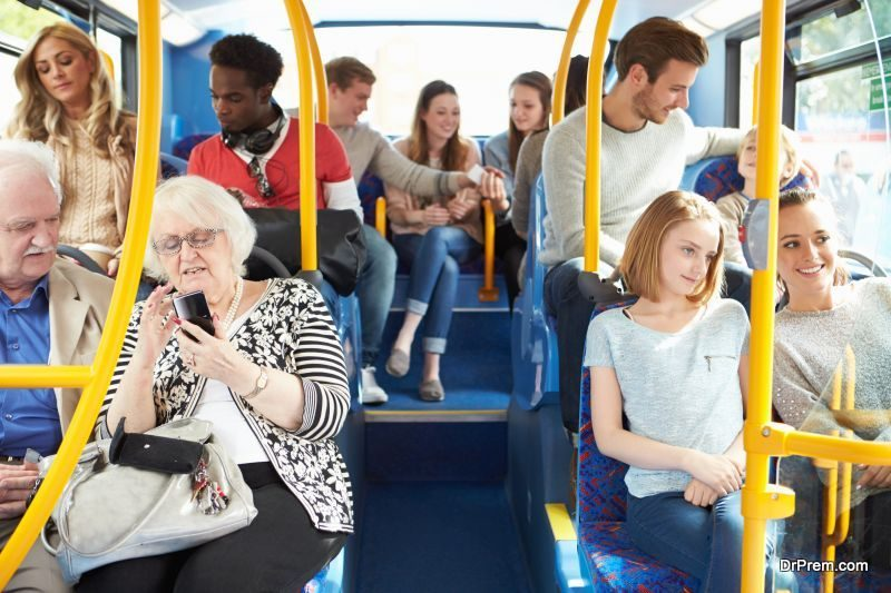 commuting by a bus