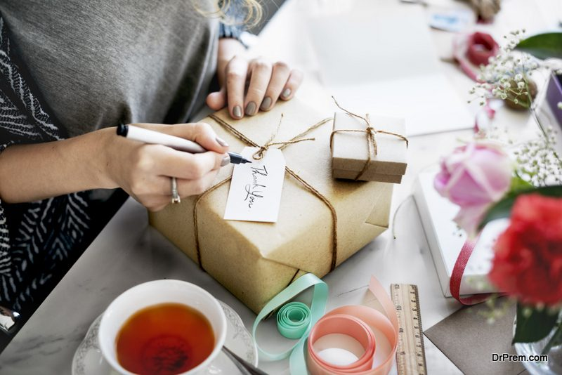 The wrapping of the gift