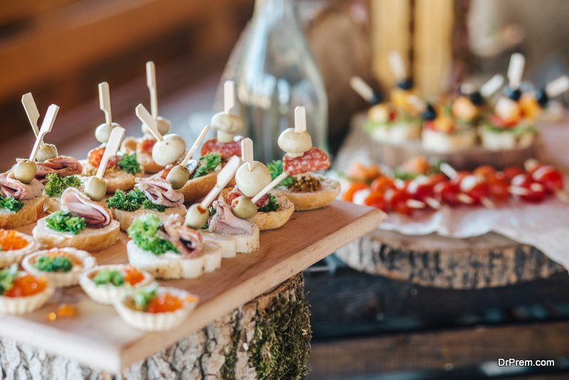 The food and beverage at the wedding