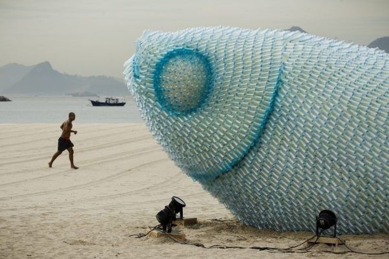 Sustainable Environment Beach Sculpture Protest by the U.N
