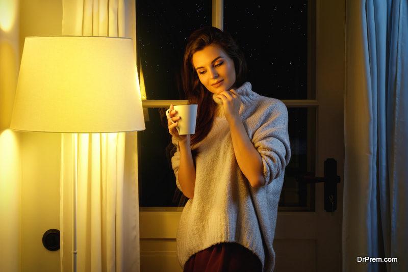 Beautiful woman wearing warm sweater