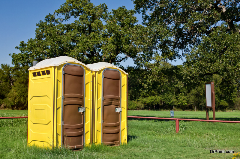 portable toilets at event