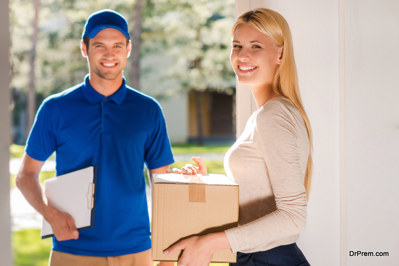 woman receiving home delivery package
